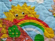 Vintage 70's Fun Calico Farm Scene Rainbow Toddler Baby Crib Quilt Wall Hanging