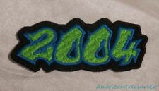 Embroidered 00s Hip Hop Graffiti Style Lime Green & Blue 2004 Year Patch Iron On