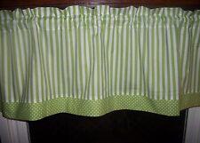 Lime Green White Polka Dot Striped Stripes Stripe fabric window curtain Valance