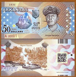 USA States, Arkansas, $50, Polymer, ND (2017), UNC > Douglas MacArthur