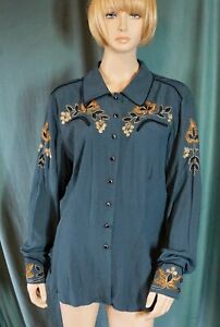 NWT Double D Ranch Wear Embroidered Long Sleeve Shirt French Blue Size L