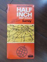 VINTAGE 1973 BARTHOLOMEW HALF INCH CLOTH MAP SHEET # 9 SURREY