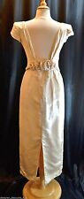 Vtg Marisa Wedding V neck Ivory satin sexy fitted Bridal Gown Dress SIZE 7 8