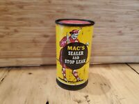 Vintage Original Mac's Sealer and Stop Leak All Metal Can Nice graphics 12oz NOS