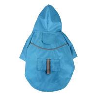 Mode Haustier Hund Wasserdicht Regenmantel Kapuzenjacke Für Hunde Welpe Blau-L