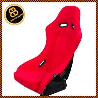 BB5 RED Fixed Fibreglass Narrow Slim Racing Bucket Seat + Side Mounts & Runners