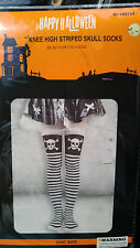 Knee High socks black and white stripes with crossbones skull One Size !!