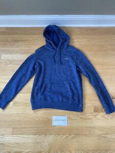 Hollister Textured Icon Heather Blue Hoodie Sweatshirt Men's Small Pullover
