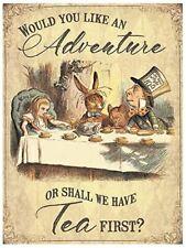 Would You Like An Adventure? Or Tea... Alice In Wonderland Large Metal Sign(og)