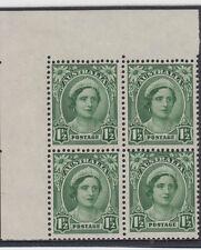 Stamps Australia 1&1/2d green queen mum no watermark block 4 substituted cliche