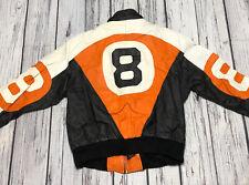 Vintage 80's 8 Ball Leather Jacket Orange Black White Color Block Mens Size M