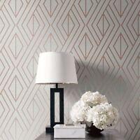 Papier Peint Géométrique Gris/Doré Rose - Poire Arbre Studios UK30506 Métallique
