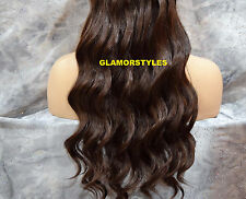 "18"" BROWN #4 FLIP IN SECRET CLEAR WIRE HAIR PIECE EXTENSIONS NO CLIP ON/IN"