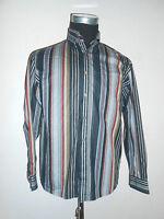 180 40 SIGNUM Designer Herren Hemd Gr.S grau schwarz rot beige gestreift Langarm
