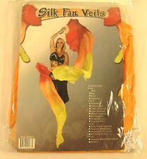 2 SilkFolding Fan  Fan Veils, Orange, Hand Crafted