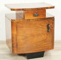 Tavolino antico stile deco Comodino mobile vintage usato in legno modernariato