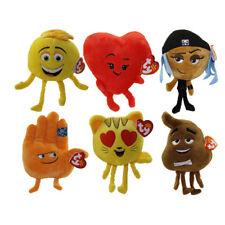 TY Beanie Babies - The Emoji Movie -SET of 6  (Poop, Gene, Cat Heart Eye, Hi 5+)