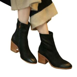 Fashion 34-41 42 43 Ladies Chunky Heel Round Toe Motor Ankle Boots Outdoor Pumps
