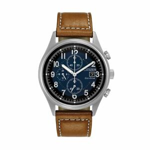 NEW CITIZEN Men's CA0621-05L Chandler Eco-Drive Chronograph Brown Leather Watch