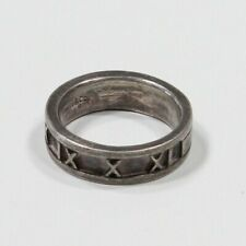 b13a91463 TIFFANY & CO * Sterling Silver 925 Atlas Roman Numeral 1995 Band Ring Size  6.5