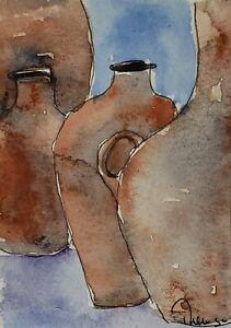Original ACEO or ATC watercolor miniature painting - Pitchers