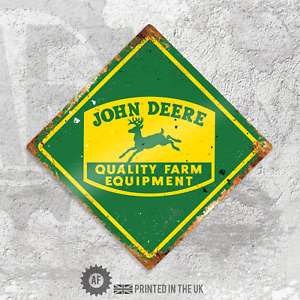 Diamond John Deere Metal Wall Sign Pub Bar Home Retro Farm Equipment Tractor