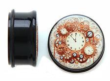 "Pair-Antique Clocks on Black Acrylic Single Flare Ear Plugs 19mm/3/4"" Gauge Bod"