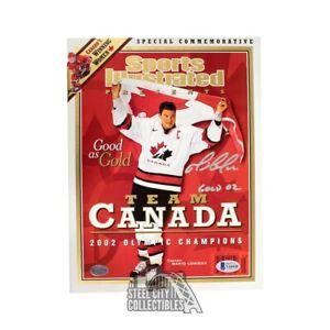 Mario Lemieux Gold 02 Autographed Team Canada Sports Illustrated Magazine - BAS