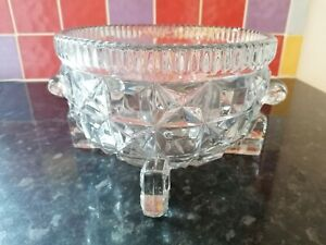 1930'S ANTIQUE EXTRA LARGE PRESSED GLASS BOWL WEIGHS 2.2K W A BAILEY