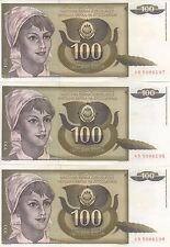 LOT OF THREE YUGOSLAVIA JUGOSLAVIA 100 DINARA BANKNOTES - UNCIRCULATED