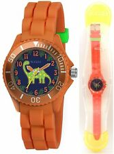 TIKKERS CHILDREN'S STUNNING DINOSAUR DIAL ORANGE SILICONE STRAP WATCH - TK0046