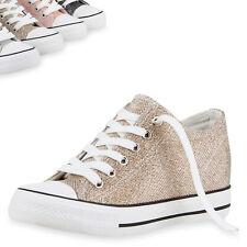 Damen Sneaker-Wedges Glitzer Keil Absatz Sneakers Schuhe 811084 Top