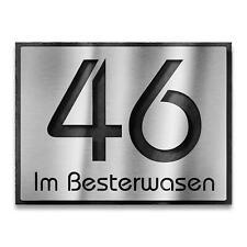 Hausnummer Edelstahl - Schiefer massives 3D Hausnummernschild mit Straßenname