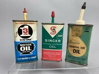 Vintage Oil Tin Can Singer Sewing Pennys General Use 3 in One Motor Oil Gift Lot