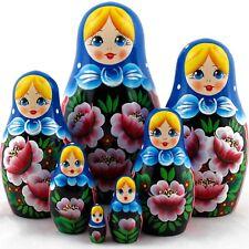 Beautiful Painting Roses Flowers Matryoshka Russian Nesting Dolls Stacking 7 Pcs