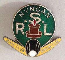 Nyngan RSL Civic Bowling Club Badge Pin Vintage Lawn Bowls (L34)