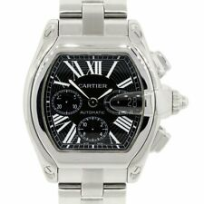 Cartier Roadster Chronograph Stainless Steel Black Roman Dial Mens Watch 2618