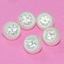 Lot de 5 petits boutons anciens verre blanc nacré cristal 9mm button