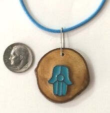 Hamsa Kabbalah Necklace Pendant Charm on Israeli slice olive wood Judaica