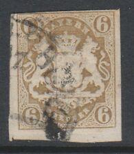 Germany (Bavaria) - 1867/9, 6k Pale Bistre - 3 Margins - Used - SG 41 (c)