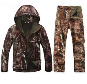 New Men Hunting Camouflage Clothing Waterproof Windproof Hooded Jacket & Pants