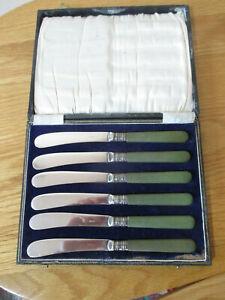 6 Art Deco Green Bakelite Handled Dessert Tea  Butter Knives in Box Case