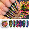Nail Art Chameleon Sequins Flakes Glitter Paillette Blue UV Gel Nail Tips DIY