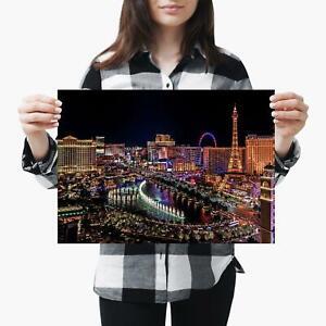 A3  Las Vegas Strip Nevada Night Scene Size A3 Poster Print Photo Art Gift #2797