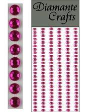 150 x 4mm Hot Pink Diamante Self Adhesive Strips Rows Rhinestone Craft Gems