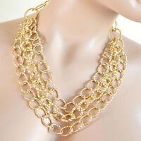 COLLANA ORO donna girocollo dorato catena anelli diamantati collier elegante A48