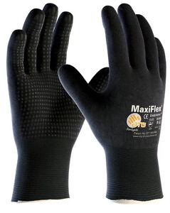 MaxiFlex Endurance 34-847 Nitrile Foam Dotted Fully Coated Work Gloves BLACK
