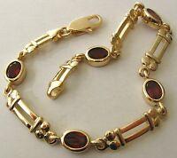 GENUINE  9K  9ct  SOLID  Gold  NATURAL  OVAL  GARNET  Bracelet