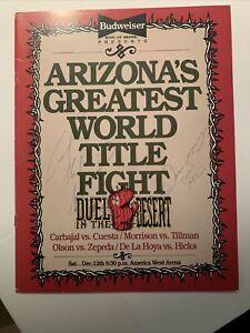 Oscar De La Hoya 1992 Program, his 2nd Pro Fight; Signed by Oscar & T. Morrison