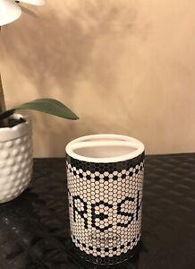 """Kassatex Black & Ivory Mosiac Tiles """"FRESH"""" Fine Porcelain Toothbrush Holder"""